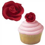 Medium Red Roses Icing Decorations - 8 Pack