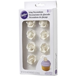 Medium White Roses Icing Decorations - 8 Pack