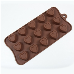 Stamped Heart Silicone Candy Mold chocolate treat dessert fat daddio