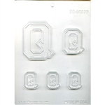 "Collegiate Letter ""Q"" Chocolate Mold Quincy college Queens"