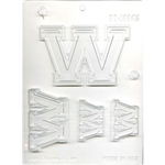 "Collegiate Letters ""W"" Chocolate Mold"