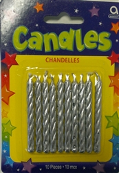 Silver Metallic Candles - 10 Pack