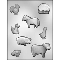 Farm Animal Assortment Chocolate Mold 90-11243 barn cow horse chicken rooster pig goose sheep