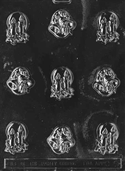 bells and candles chocolate candy mold christmas holiday winter treat gift