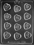 Candy Heart Sayings Chocolate Mold V157 Valentine