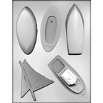 3D Boat Assortment Chocolate Mold 90-15367 sailboat motor boat nautical skiff fishing