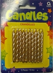 Gold Metallic Candles - 10 Pack