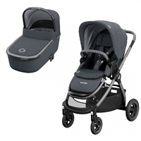 Maxi-Cosi Adorra Pushchair & Oria Carrycot  Essential Graphite now available at All4Baby with free delivery nationwide.