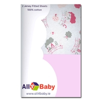 All4Baby 2 Pack Moses Fitted Sheet Train