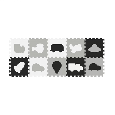 Babyono Foam Puzzle 10pcs Vehicles Black & White