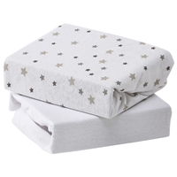 Baby Elegance 2 Pack Moses Fitted Sheet Jersey Grey Stars