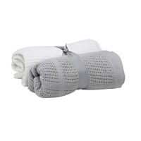 Baby Elegance Grey And White 2 Pack Cellular Blanket Pram / Moses