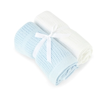Baby Elegance Blue And White 2 Pack Cellular Blanket Pram / Moses