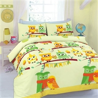 Nightzone Cute Owls Printed Duvet Set- Duvet/Quilt cover with Pillow Case