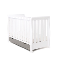 Obaby Stamford Mix n Match Mini Sleigh Cot Bed White with Taupe Grey