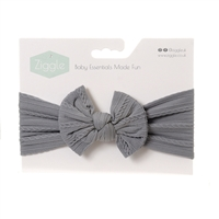 Ziggle Grey Top Bow Turban Headband