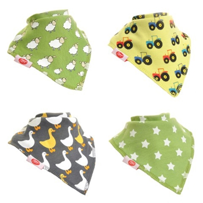 Zippy Bandana Dribble Bibs Boys Farm Fun