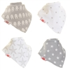 Zippy Bandana Dribble Bibs Grey and White