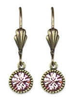 Anne Koplik Brass Crystal Light Rose Swarovski Crystal Simple Drop Earrings