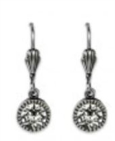 Anne Koplik Clear Swarovski Crystal Simple Drop Earrings
