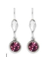Anne Koplik Fushia Swarovski Crystal Simple Drop Earrings