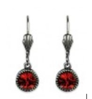 Anne Koplik Red Magma Swarovski Crystal Simple Drop Earrings