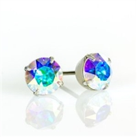 Anne Koplik Silver CAB 6mm Swarovski Crystal Stud Earrings