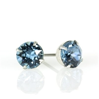 Anne Koplik Silver Montana Blue 6mm Swarovski Crystal Stud Earrings