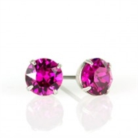 Anne Koplik Silver Fuchsia 6mm Swarovski Crystal Stud Earrings
