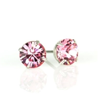 Anne Koplik Silver Light Rose 6mm Swarovski Crystal Stud Earrings