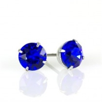 Anne Koplik Silver Majestic Blue 6mm Swarovski Crystal Stud Earrings