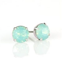 Anne Koplik Silver Pacific Opal 6mm Swarovski Crystal Stud Earrings