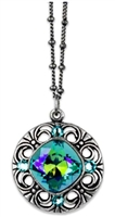 Anne Koplik Light Turquoise Swarovski Crystal Pendant Necklace