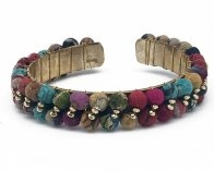 Colorful Cuff Bracelet made with Wooden Beads Wrapped with Recycled Sari Fabrics.
