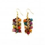 Handcrafted Aasha Earrings - Colorful earrings made with wooden beads wrapped with recycled sari fabrics.