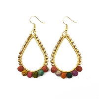 Handcrafted Aasha Saira Earrings - Colorful earrings made with wooden beads wrapped with recycled sari fabrics.