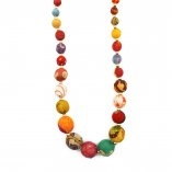 "20 "" Handcrafted Aasha Necklace - Colorful necklace made with wooden beads wrapped with recycled sari fabrics."