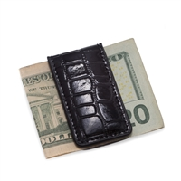 Black Bey-Berk Croco Leather Magnetic Money Clip