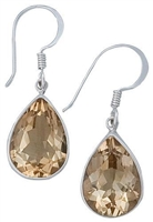 Sterling Silver Teardrop Citrine Drop Earrings