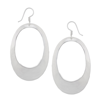 Sterling Silver High Polished Oval Earrings