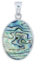 Fine Sterling Silver Abalone Pendant - Natural