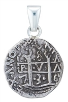 Charles Albert Fine Sterling Silver Treasure Coin Pendant