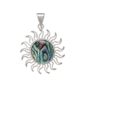 Sterling Silver Natural Abalone Sun Pendant