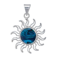 Sterling Silver Blue Abalone Sun Pendant
