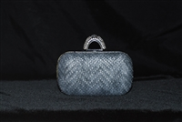 JNB Gray Hard Case Clutch with Crystal Ring Clasp
