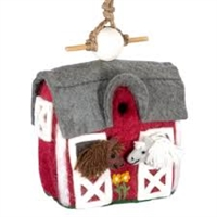 Handmade Wool Stable with Horses Birdhouse
