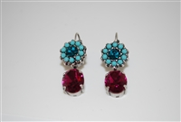 Mariana Poinsettia Earrings with Drop Swarovski Crystals and Antiqued Silver
