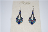 Firefly Sapphire Dangle Swarovski Crystal Earrings in Silver Plate