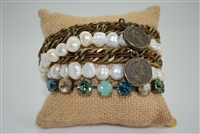 La Hola Pearl, Coin, Chain and Swarovski Crystal Wraps