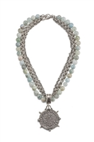 TRIPLE STRAND FACETED French Kande - AQUAMARINE AND CHAINS WITH DOMINI MEDALLION